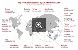 Top Product Inspections by Country – Q3 2016 | AsiaInspection – Audit Industry News
