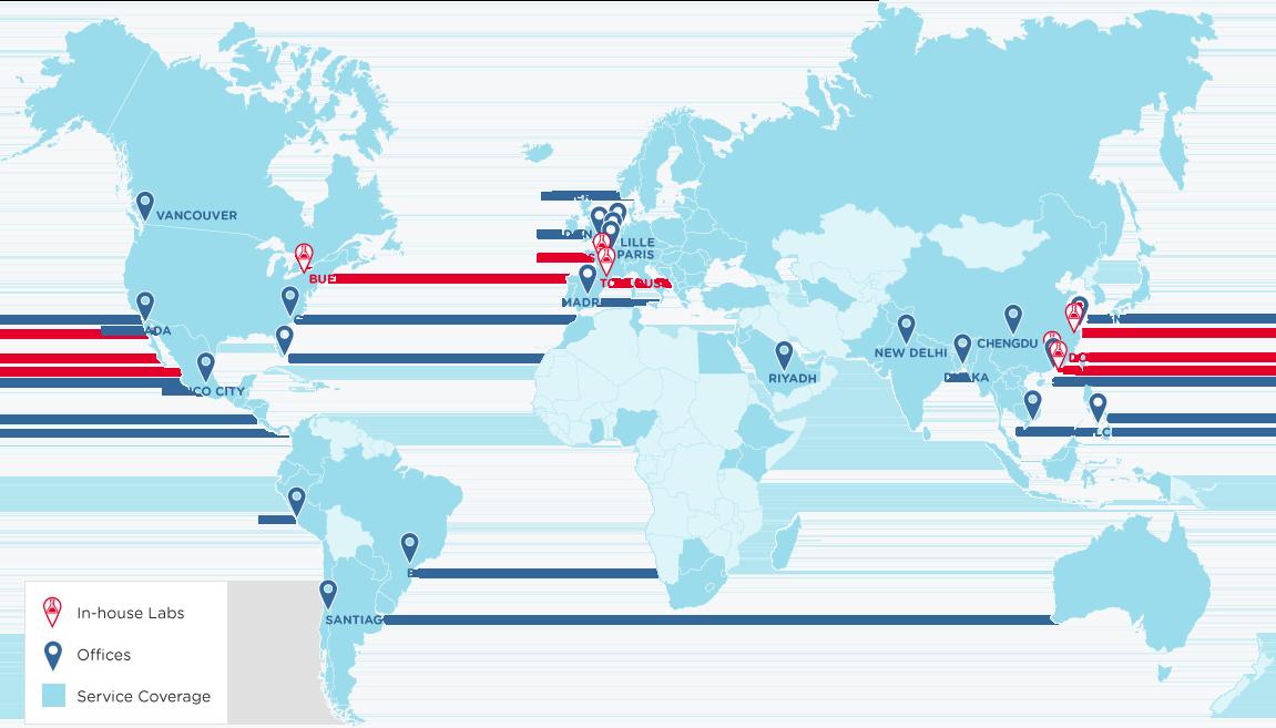 启迈QIMA位于全球的公司足迹