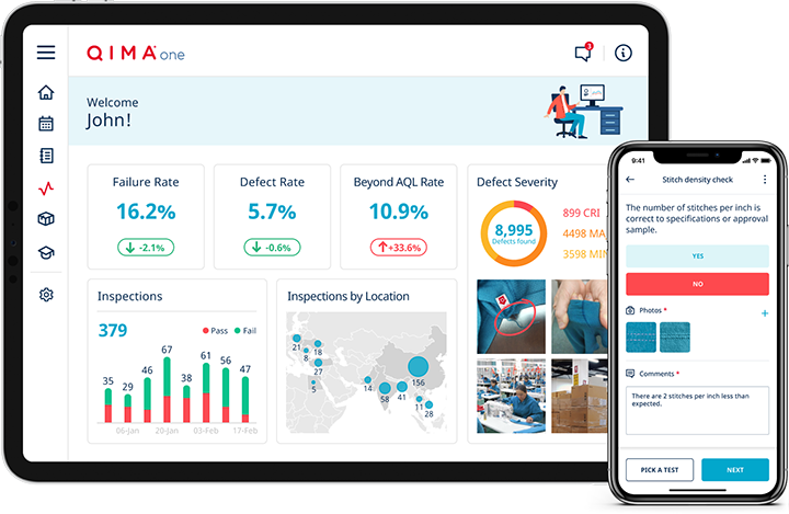 QIMAone dashboard with quality inspection insights and supplier performance dashboards.